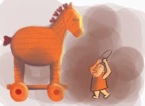 Trojan horse in a warmer palette