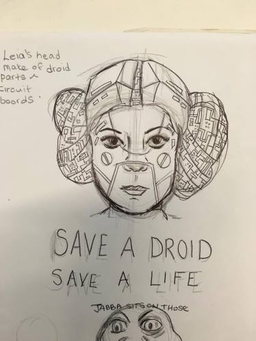 leia head sketch